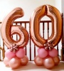 Rose gold number balloon with balloon base