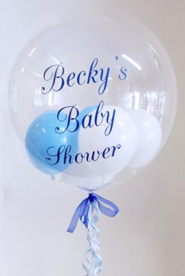 Personalised Balloon, Blue and White