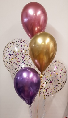 Twin multicolour confetti balloons with chromes