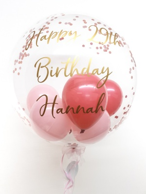 Personalised confetti balloon in a box, shades of pink