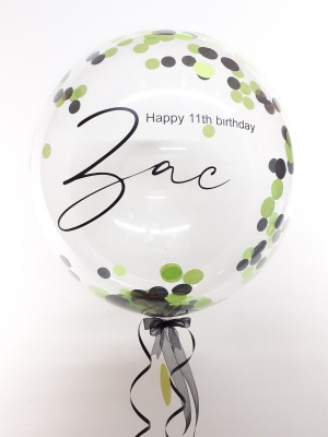 Personalised confetti balloon in a box, green and black