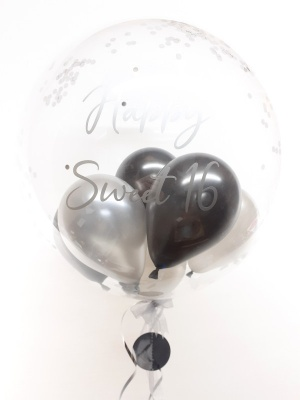 Personalised confetti balloon in a box, black and silver glitz