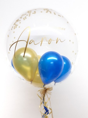 Personalised confetti balloon in a box, blue and gold