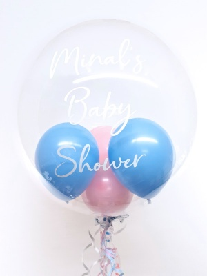 Personalised balloon in a box, baby blue and pink