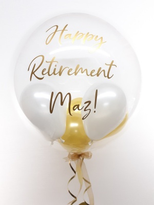 Personalised balloon in a box, gold and white