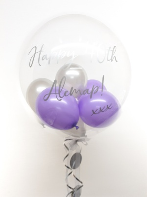 Personalised balloon in a box, lilac and silver