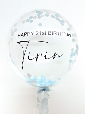 Personalised paper confetti balloon in a box, blue and white