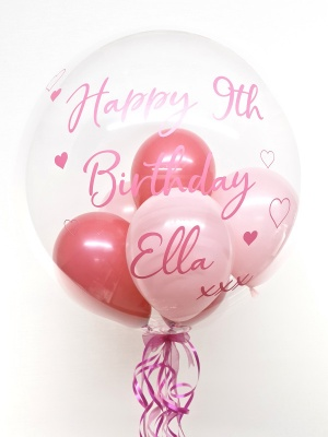 Personalised balloon in a box, shades of pink with hearts