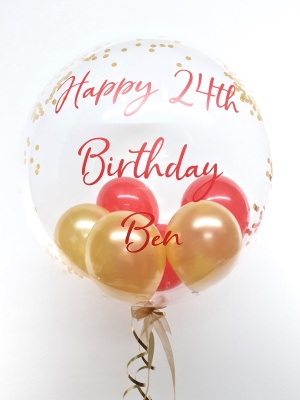 Personalised confetti balloon in a box, gold and red glitz