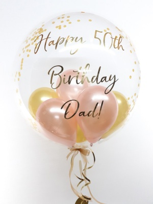Personalised confetti balloon in a box, rose gold and gold glitz