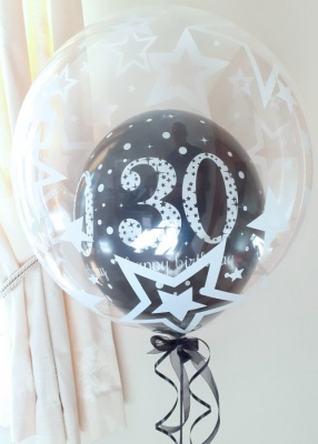 Any age, black balloon in a balloon