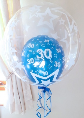 Age 18-60 blue birthday balloon (stars)