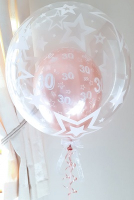 Age 18-60 rose gold birthday balloon (stars)