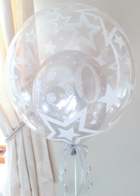 Any age, silver balloon in a balloon