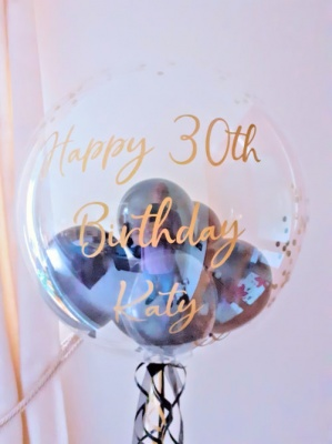 Personalised balloon with black balloons & gold confetti