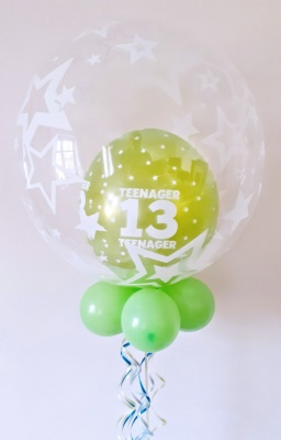 Any age, multi colour option balloon in a balloon