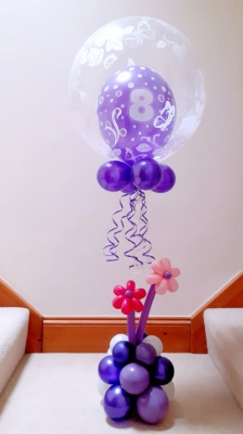 Any age, multi colour option balloon in a balloon with flowers