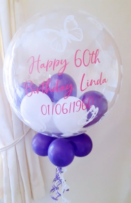 Personalised balloon in purple and white