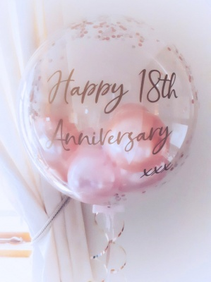Personalised Anniversary balloon rose gold and pink