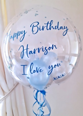 Personalised Balloon, Blue and Silver with Confetti