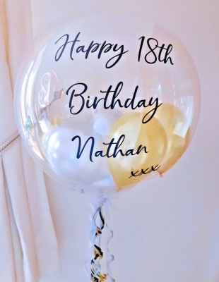 Personalised balloon in gold and silver