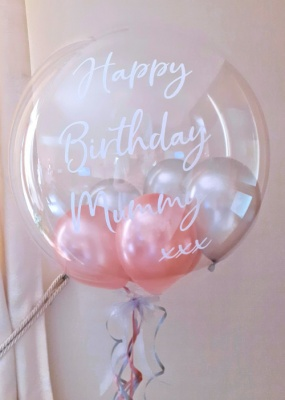Personalised Balloon, Rose Gold and Silver