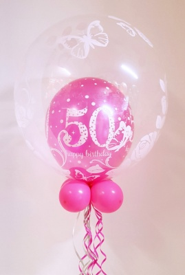 Any age, pink balloon in a balloon (butterfly)