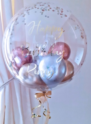 Metallic rose gold, silver, gold confetti balloon