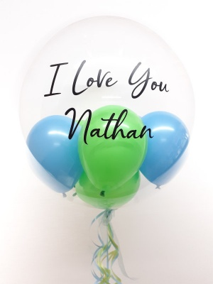 Personalised balloon in a box, blue and green