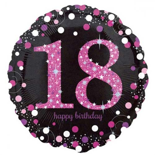 Age 18 pink, purple, black birthday balloon