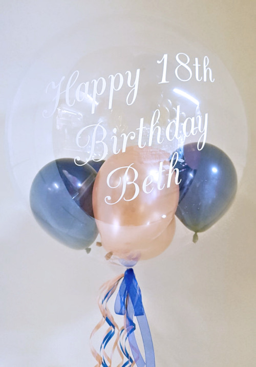 Personalised Balloon, Rose Gold and Navy Blue