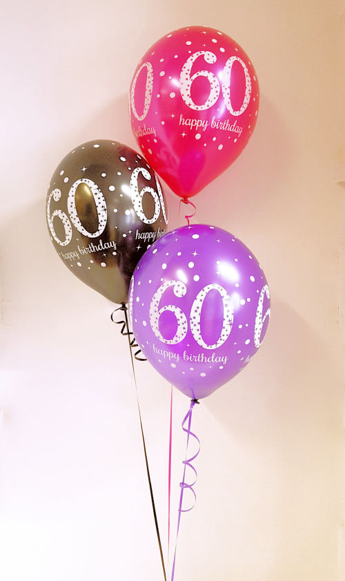 Any age, birthday balloon arrangement, pink, purple, black kit