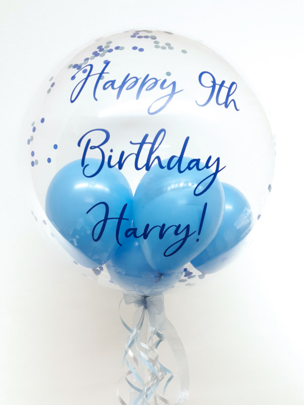 Personalised balloon in a box, blue with confetti