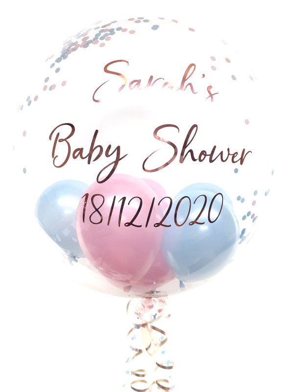 Personalised confetti balloon in a box, blue and pink glitz