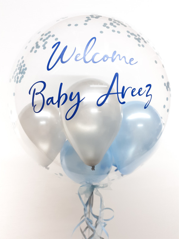 Personalised confetti balloon in a box, blue and silver