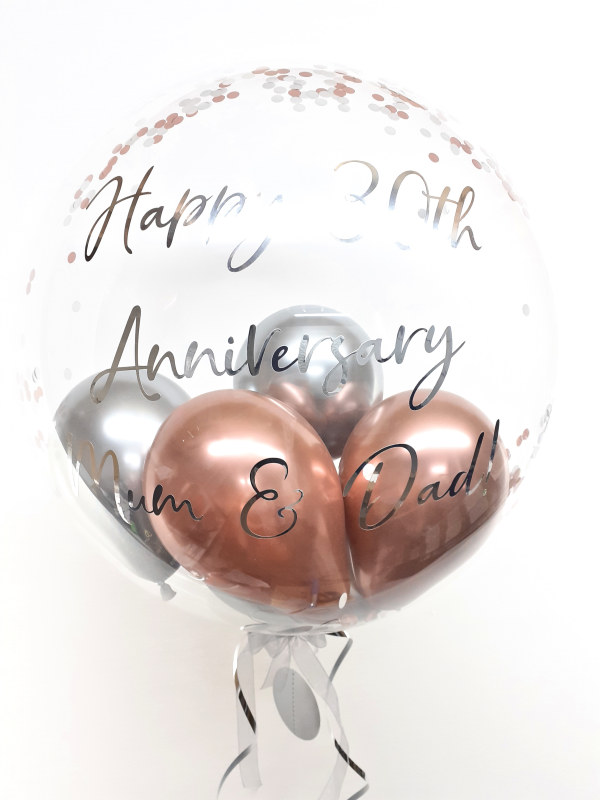 Personalised confetti balloon in a box, rose gold and chrome silver glitz