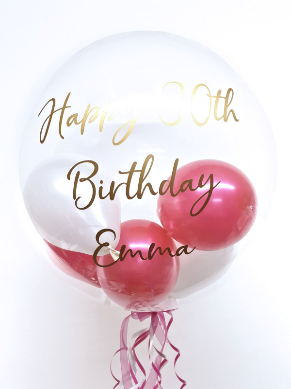 Personalised balloon in a box, deep pink and white