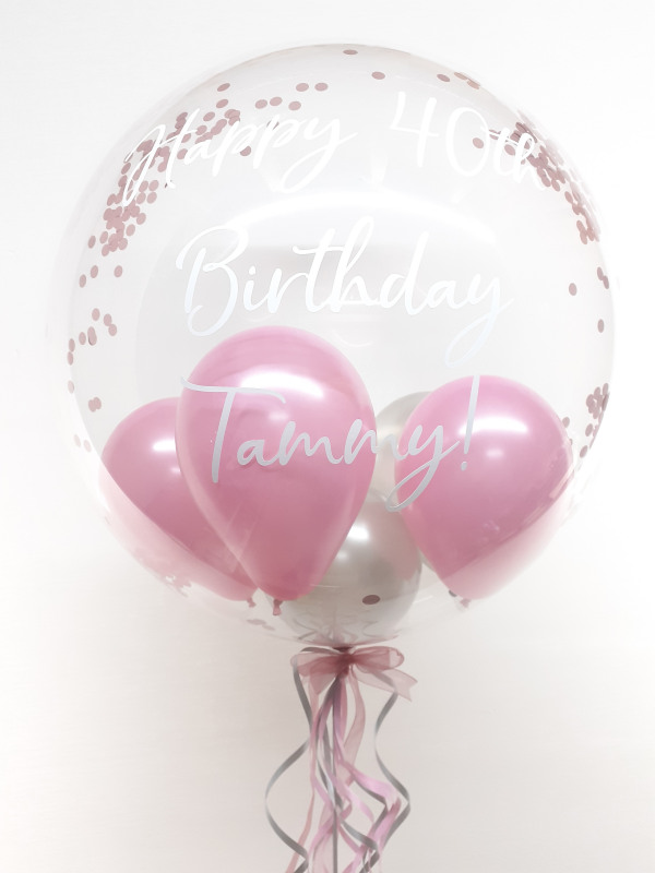 Personalised confetti balloon in a box, pink and silver