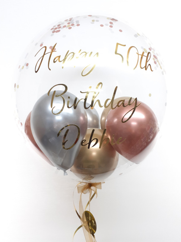 Personalised confetti balloon in a box, rose gold, silver, gold glitz