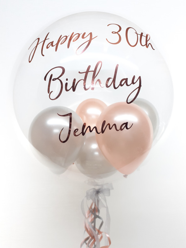 Personalised balloon in a box, rose gold and silver with rose gold text