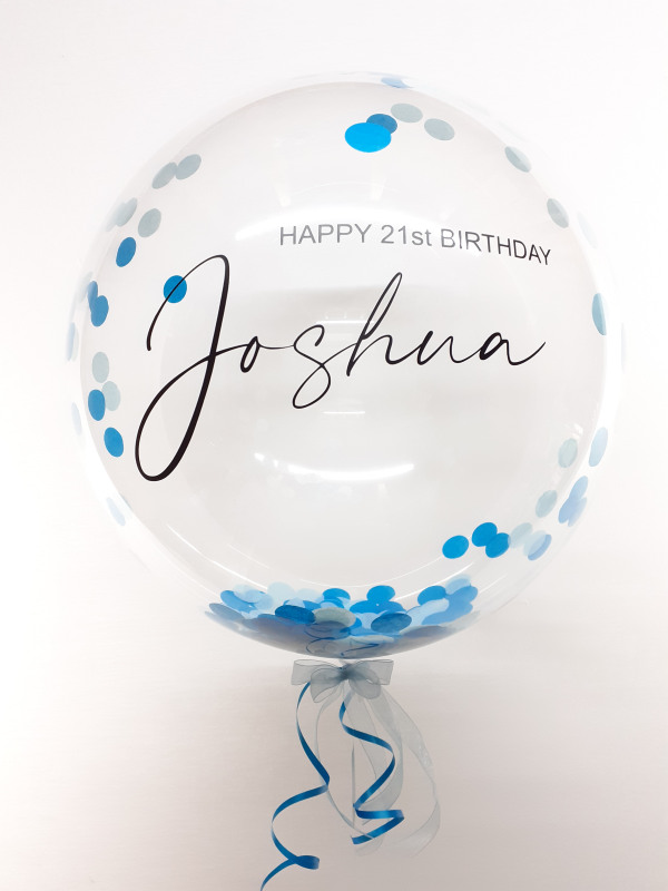 Personalised confetti balloon in a box, turquoise and pale blue