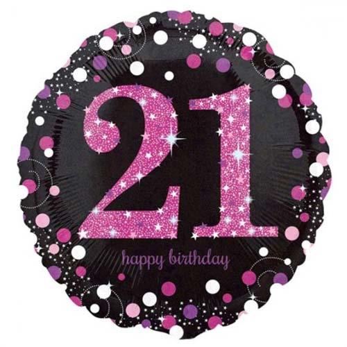 Age 21 pink, purple, black birthday balloon