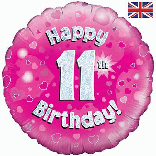 Age 11 pink birthday balloon