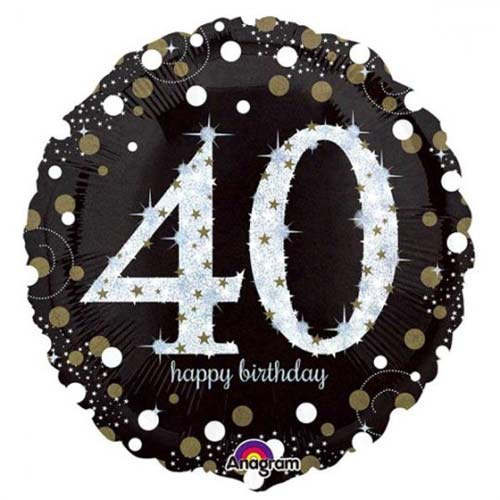 Age 40 black, gold, silver birthday balloon
