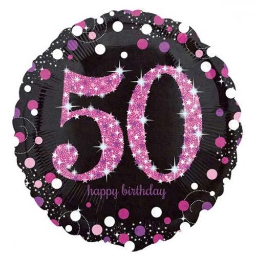 Age 50 pink, purple, black birthday balloon