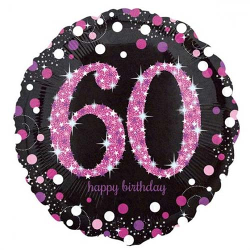 Age 60 pink, purple, black birthday balloon