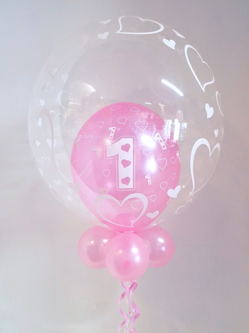 First birthday balloon in a balloon, pink