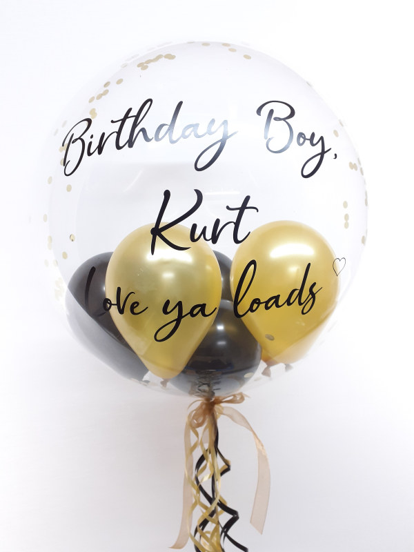 Personalised balloon in a box, black and gold