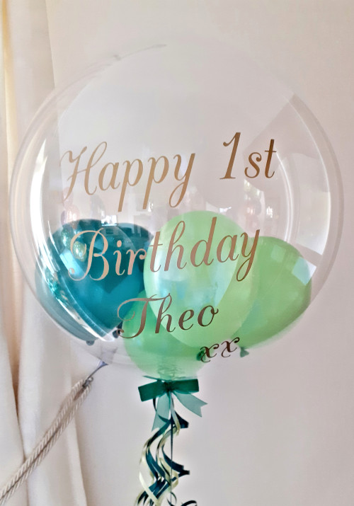 Personalised balloon in shades of green