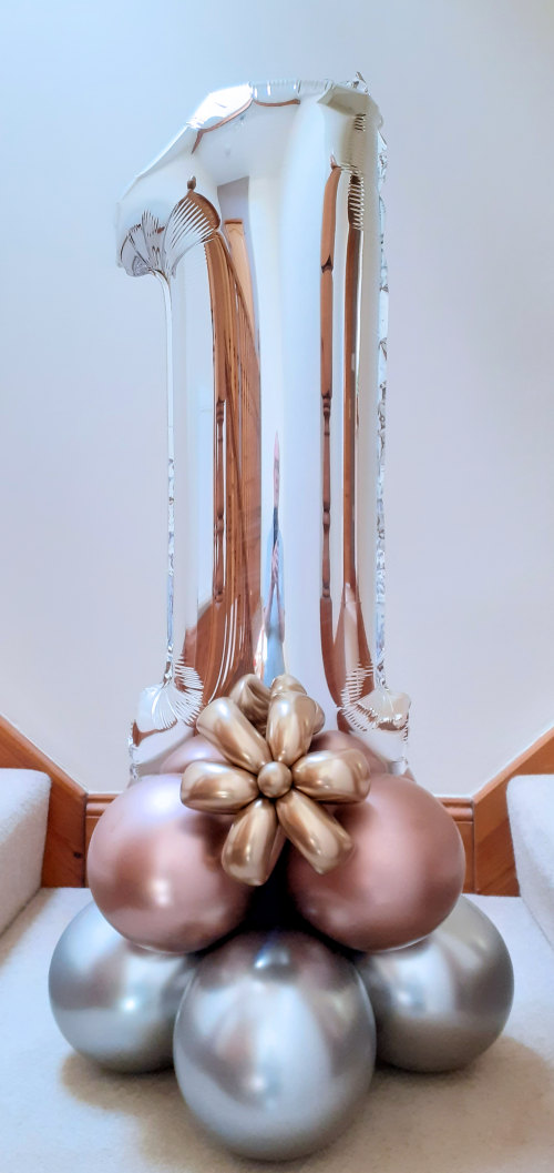 Silver number balloon with rose gold